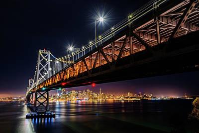 Photograph - Bay Bridge And San Francisco By Night 1 by Jason Chu