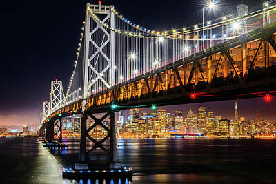 Photograph - Bay Bridge And San Francisco By Night 10 by Jason Chu
