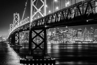 Photograph - Bay Bridge And San Francisco By Night 10 Monochrome by Jason Chu