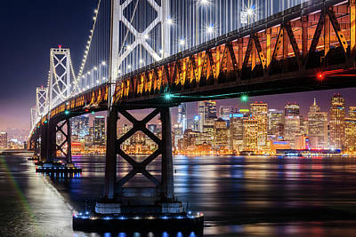 Photograph - Bay Bridge And San Francisco By Night 11 by Jason Chu