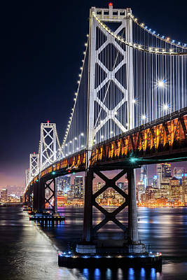 Photograph - Bay Bridge And San Francisco By Night 12 by Jason Chu