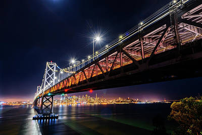 Photograph - Bay Bridge And San Francisco By Night 13 by Jason Chu