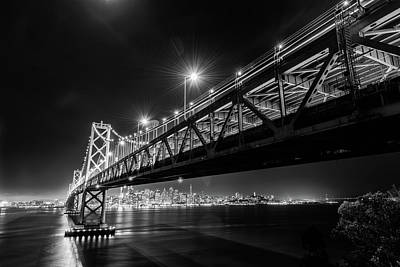 Photograph - Bay Bridge And San Francisco By Night 13 Monochrome by Jason Chu