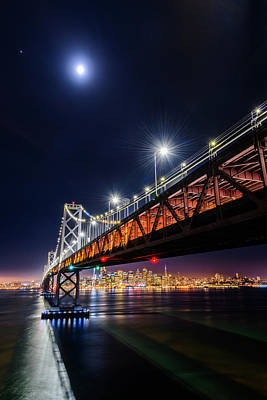Photograph - Bay Bridge And San Francisco By Night 14 by Jason Chu