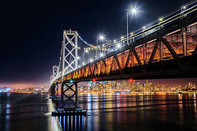 Photograph - Bay Bridge And San Francisco By Night 15 by Jason Chu