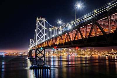 Photograph - Bay Bridge And San Francisco By Night 16 by Jason Chu