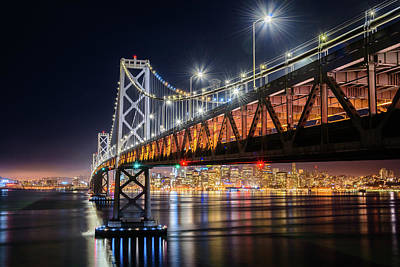 Photograph - Bay Bridge And San Francisco By Night 17 by Jason Chu