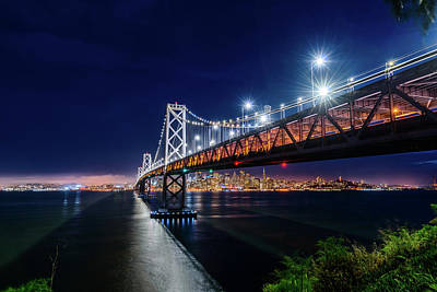 Photograph - Bay Bridge And San Francisco By Night 2 by Jason Chu