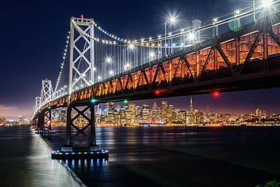 Photograph - Bay Bridge And San Francisco By Night 3 by Jason Chu