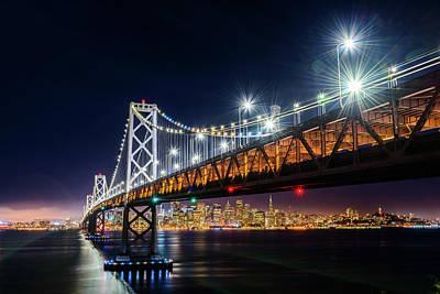 Photograph - Bay Bridge And San Francisco By Night 4 by Jason Chu