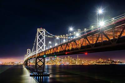 Photograph - Bay Bridge And San Francisco By Night 6 by Jason Chu