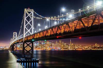 Photograph - Bay Bridge And San Francisco By Night 7 by Jason Chu