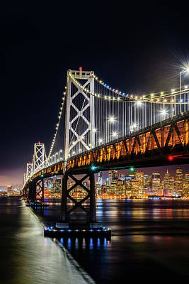 Photograph - Bay Bridge And San Francisco By Night 8 by Jason Chu