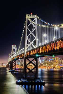 Photograph - Bay Bridge And San Francisco By Night 9 by Jason Chu