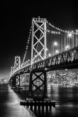 Photograph - Bay Bridge And San Francisco By Night 9 Monochrome by Jason Chu