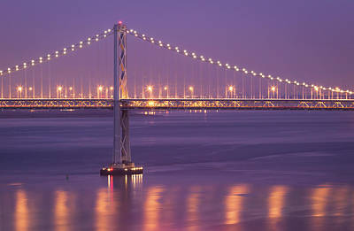 Illuminated Photograph - Bay Bridge At Dusk by Sean Duan