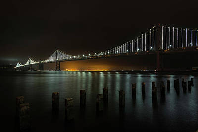 Photograph - Bay Bridge At Night by Scott Cunningham