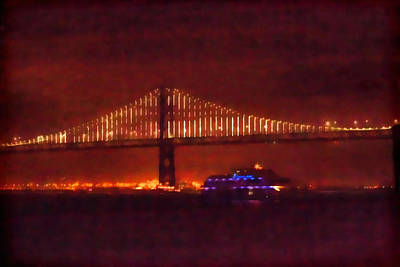 Photograph - Bay Bridge At Night With Blue Ferry by Bonnie Follett