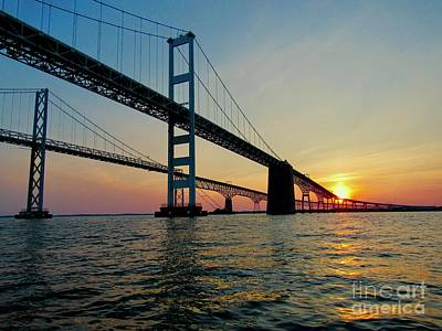 Photograph - Bay Bridge At Sunset  by Nancy Patterson
