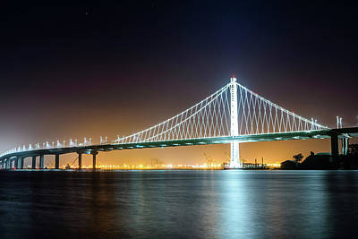Photograph - Bay Bridge East By Night 1 by Jason Chu