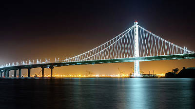 Photograph - Bay Bridge East By Night 2 by Jason Chu