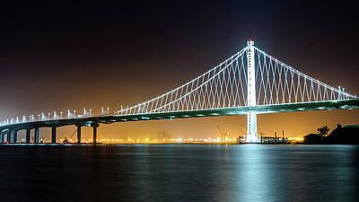 Photograph - Bay Bridge East By Night 2 by Jason Chu