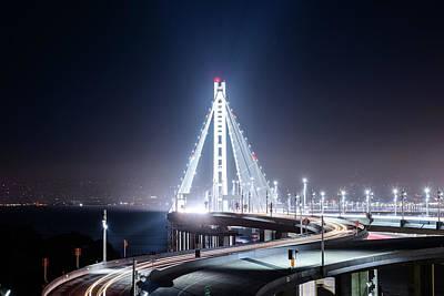 Photograph - Bay Bridge East By Night 4 by Jason Chu