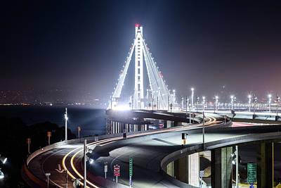 Photograph - Bay Bridge East By Night 5 by Jason Chu