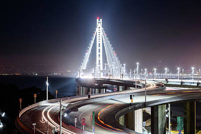 Photograph - Bay Bridge East By Night 6 by Jason Chu