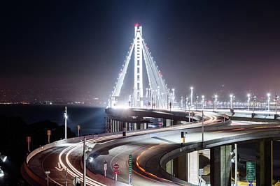 Photograph - Bay Bridge East By Night 6 by Jason Chu