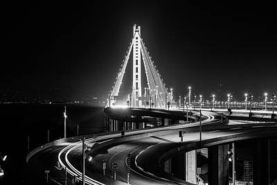 Photograph - Bay Bridge East By Night 6 Monochrome by Jason Chu