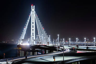 Photograph - Bay Bridge East By Night 7 by Jason Chu