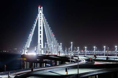 Photograph - Bay Bridge East By Night 7 by Jason Chu