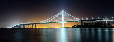 Photograph - Bay Bridge East By Night Panorama by Jason Chu