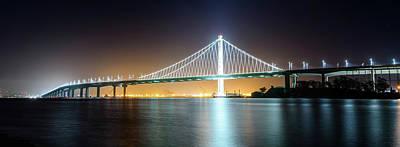 Photograph - Bay Bridge East By Night Panorama by Jason Chu