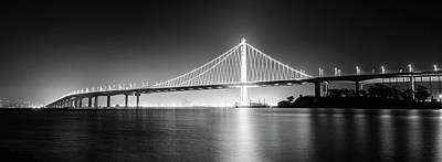 Photograph - Bay Bridge East By Night Panorama Monochrome by Jason Chu