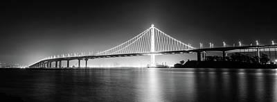 Photograph - Bay Bridge East By Night Panorama Monochrome by Jason Chu