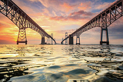 Chesapeake Bay Photograph - Bay Bridge Impression by Jennifer Casey