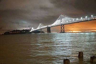 Bridge Photograph - Bay Bridge Night by April Bielefeldt