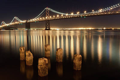 Illuminated Photograph - Bay Bridge Reflections by Connie Spinardi