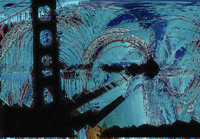 Mixed Media - Bay Bridge by Rick Thiemke