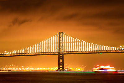 Photograph - Bay Bridge Span And Ferry At Night by Bonnie Follett