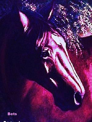 Bay Horse Art Horse Portrait Circe Purple Art Print