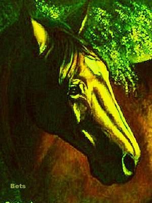 Bay Horse Art Horse Portrait Circe Sunset And Green Art Print