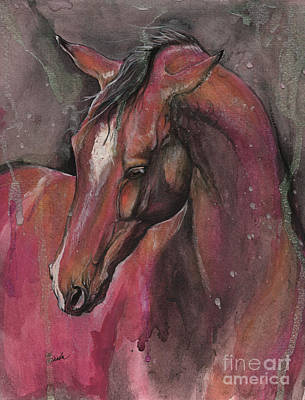 Painting - Bay Horse Portrait 2017 05 09 by Angel Tarantella