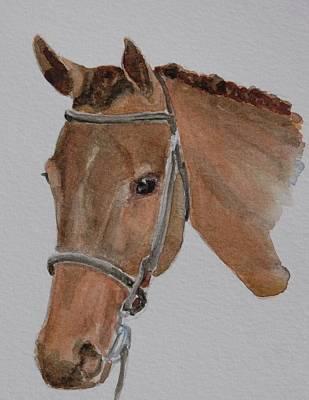Watercolor. Equine. Bridle Painting - Bay Hunt by Gretchen Bjornson