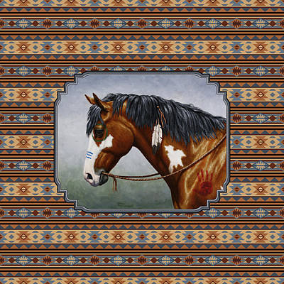 Native American War Horse Painting - Bay Native American War Horse Southwest by Crista Forest