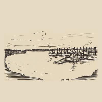 Drawing - Bay Near Hilton Head by Sean McMenemy