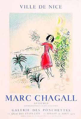 Mourlot Painting - Bay Of Nice by Marc Chagall