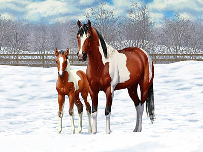 Paint Horse Painting - Bay Pinto Mare And Foal In Snow by Crista Forest
